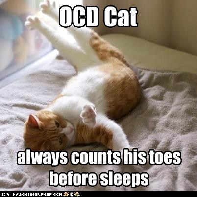 OCD Cat always counts his toes before sleeps