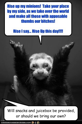 Rise up my minions! Take your place by my side, as we take over the world and make all those with apposable thumbs our bitches! Rise I say... Rise Up this day!!!! Will snacks and juicebox be provided, or should we bring our own?