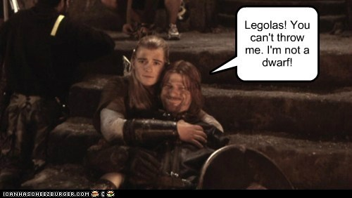 legolas,Lord of the Rings,dwarf,sean bean,orlando bloom,throwing
