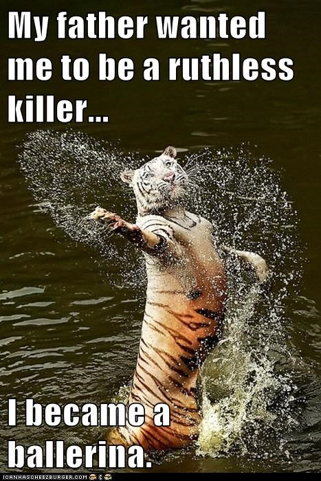 dancing,tigers,water,ballerina,ruthless,killer