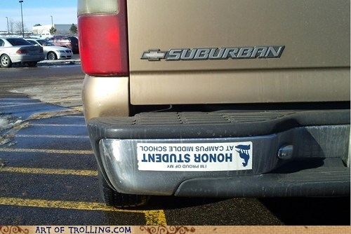 car,honor student,bumber sticker,parents,upside down