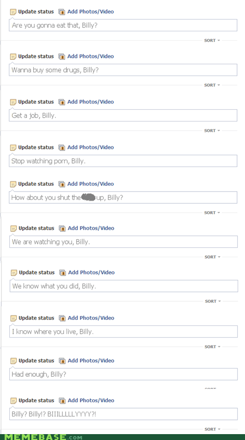 billy status update creepy facebook facebook stalking failbook g rated