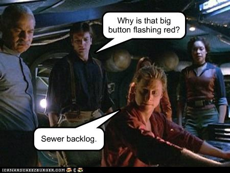 Why is that big button flashing red? Sewer backlog.