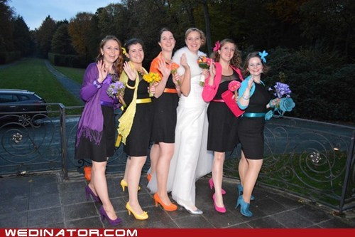 bridesmaids colorful rainbow