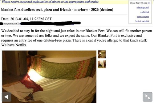 blanket fort,craigslist,bros