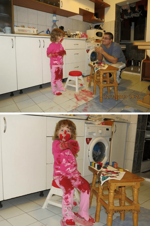 paint,messy kids,fatherdaughter