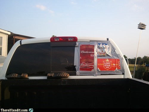 rear window drunk beer case budweiser pickup truck Lone Star