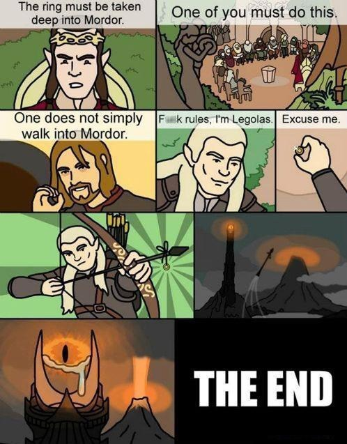 mordor legolas Lord of the Rings problem solved sauron eagles arrows Boromir comic