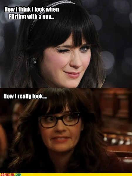 Zoey Deschanel flirting expectation vs reality - 6952170240