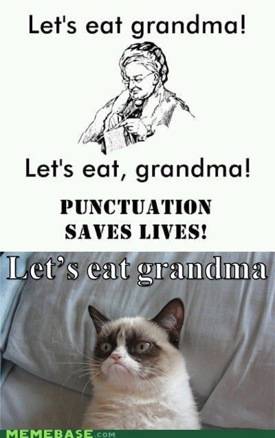 grandma punctuation Grumpy Cat