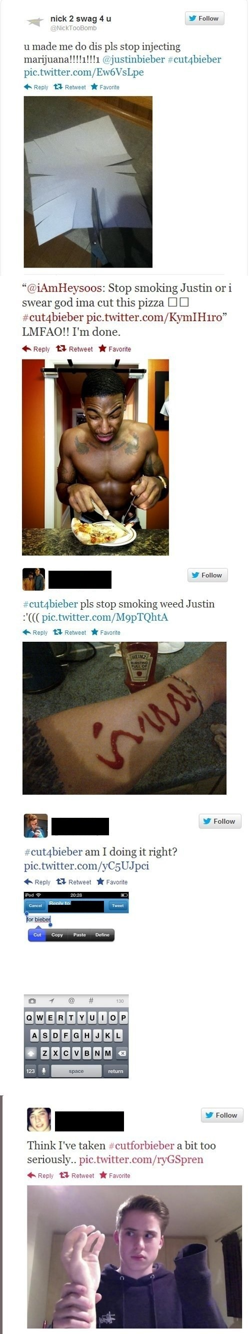self harm twitter news cutting cutforbieber justin bieber Music FAILS