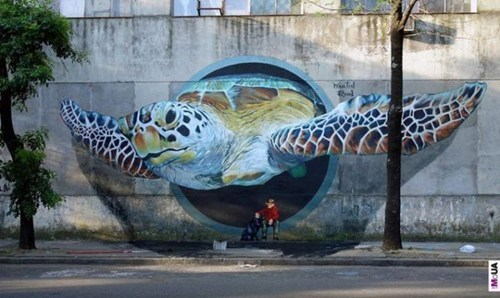 Street Art graffiti hacked irl turtle illusion