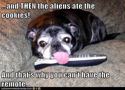 Aliens,dogs,remote,pug,tongue,story,remote control
