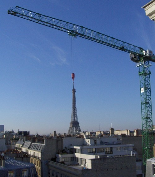 photography,crane,eiffel tower,perspective