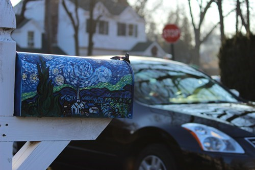 starry night,mailbox,Van Gogh,design,DIY