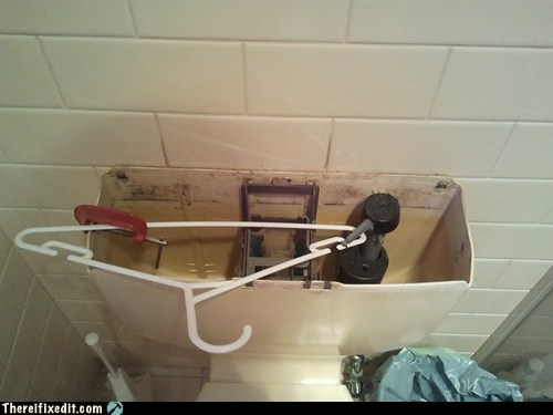 stopper,plumber,flusher,flush,coat hanger,toilet,flapper
