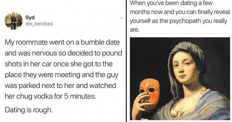 Funny dating memes, depressing dating memes, damaged, ptsd, relationship memes.