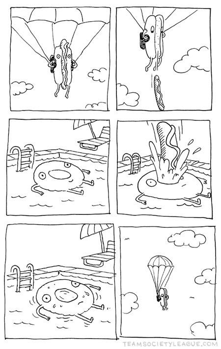 hotdog,innertube,parachute,swimming