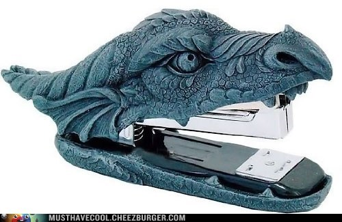 dragon,desk,statue,accessory,stone,stapler
