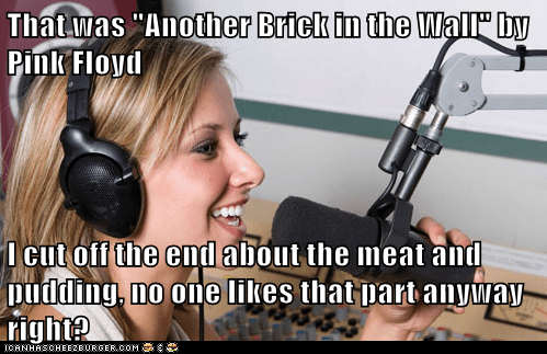 "That was ""Another Brick in the Wall"" by Pink Floyd I cut off the end about the meat and pudding, no one likes that part anyway right?"