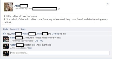 where babies come from,facebook,pranks