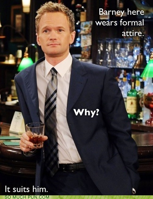 question answer how i met your mother barney literalism Neil Patrick Harris suit formalwear - 6955378688