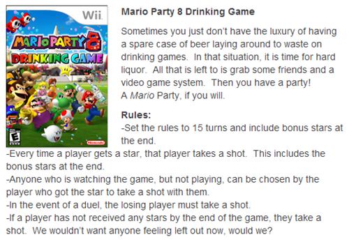 mario party,video games,drinking games,after 12,g rated