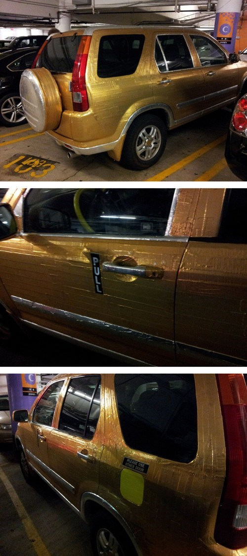 gold duct tape,gold tape,suv,goldfinger,duct tape,pimp my ride