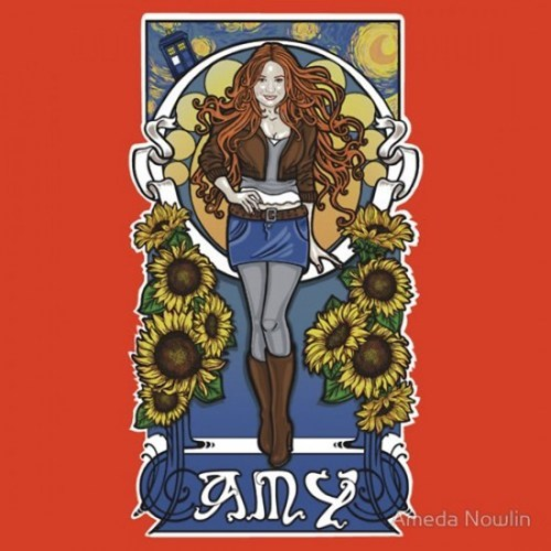 Van Gogh,Fan Art,tardis,the girl who waited,doctor who,amy pond