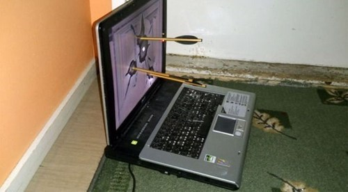 fix,technology,computer,laptop,crossbow
