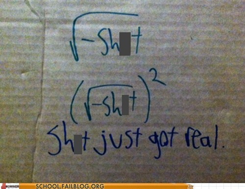 poop jokes imaginary numbers math School of FAIL