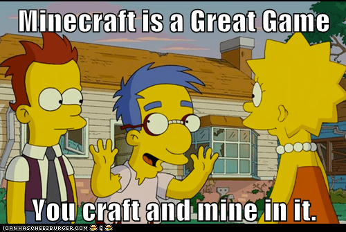 mine,Lisa Simpson,Millhouse,minecraft,video games,the simpsons,craft