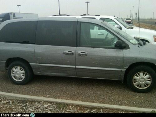 minivan,silver,duct tape