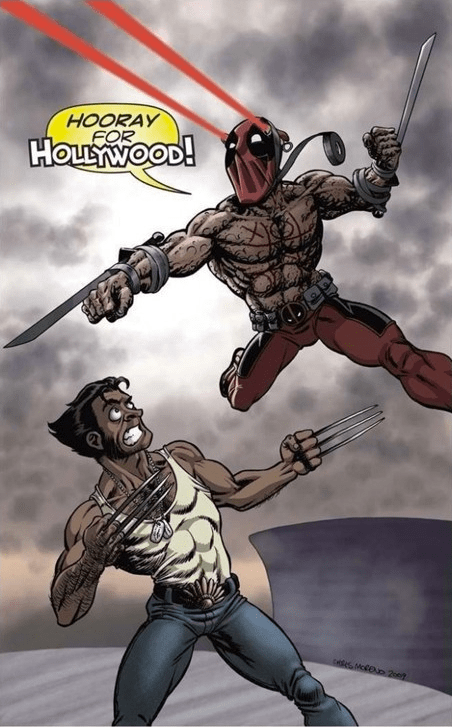 deadpool fight hollywood wolverine