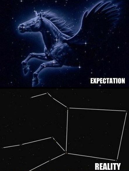 expectations vs reality,pegasus,constellations