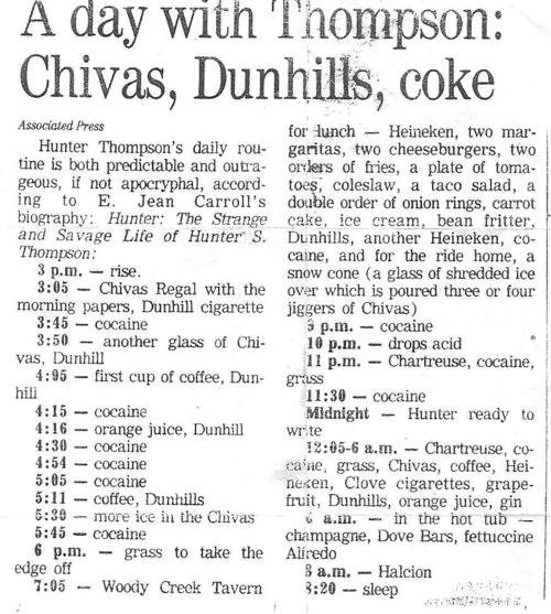 drugs Hunter S Thompson acid exhausting after 12