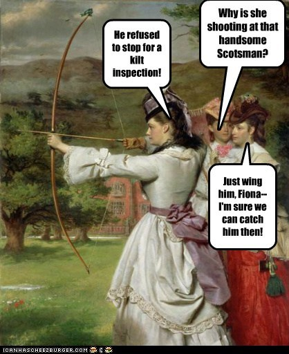 bow and arrow,woman,kilt,flirting,scotsman,archery