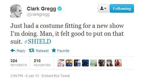 twitter shield actor The Avengers TV tweet funny clark gregg - 6958595584