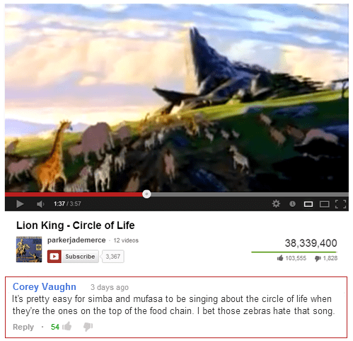 circle of life comments youtube Movie cartoons lion king wildebeest