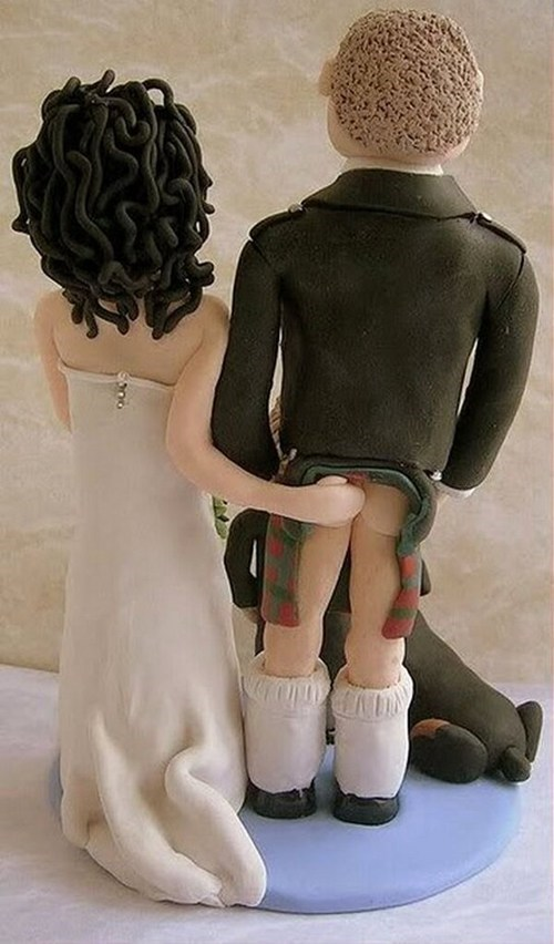 butt,kilt,booty,copping a feel,cake topper