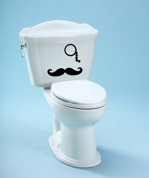 stickers monocle mustache decals toilet decorate - 6959040768