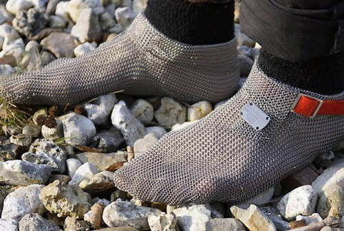 shoes socks chainmail slippers running weird - 6959096320