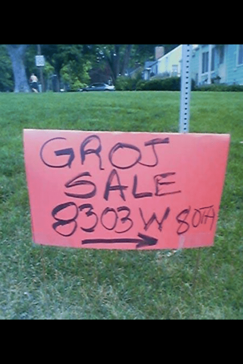 sign garage sale SMH genius spelling