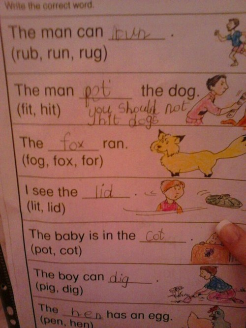 childrens-writing homework dogs g rated Parenting FAILS - 6959667456