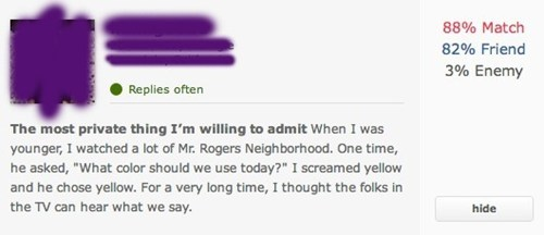 mr rogers,private,dating material,ok cupid