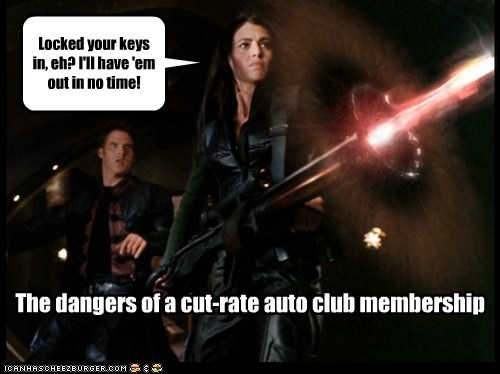 claudia black,keys,auto club,destroy,farscape,gun,john chrichton,aeryn sun,ben browder