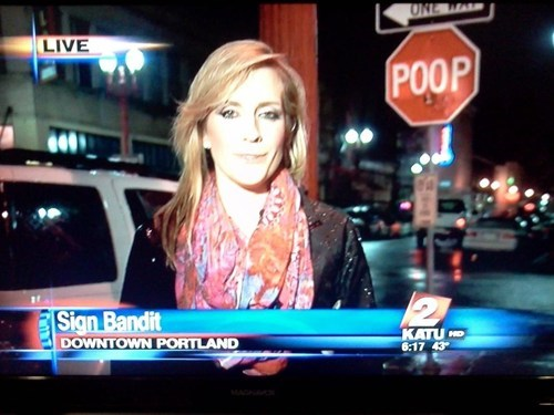 news,poop,portland,stop sign,bandit