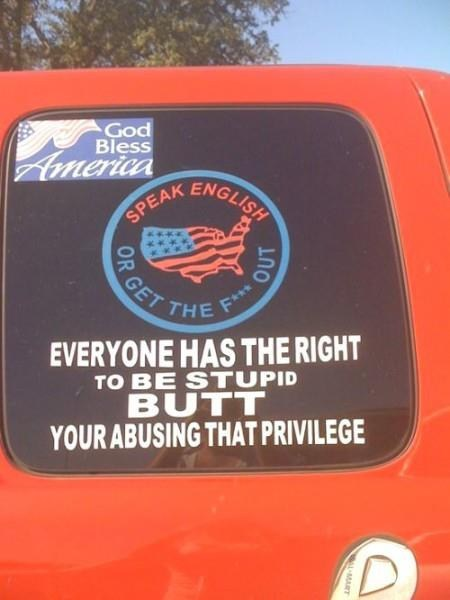 bumper sticker,english,merica,irony