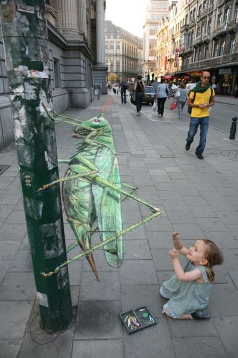 Street Art grasshopper chalk art hacked irl illusion