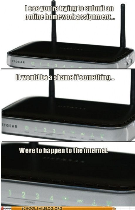 homework loose internet router